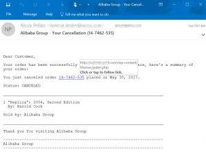Ejemplo de correo malintencionado con hipervínculo a ransomware