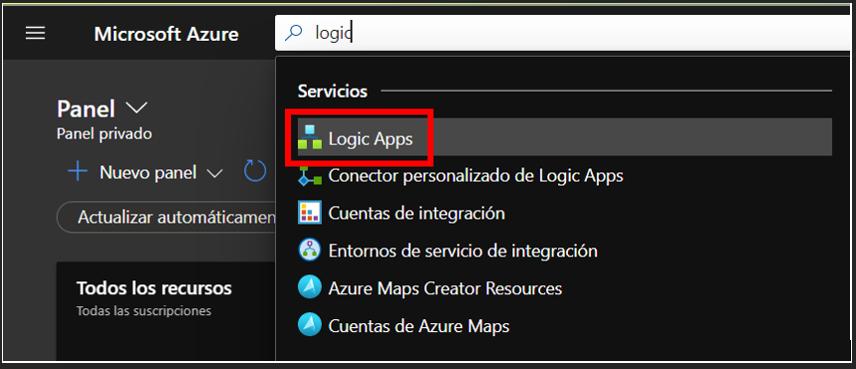 Búsqueda del recurso Logic App en el portal de Azure