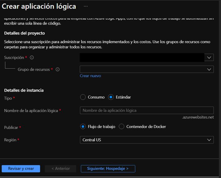 Página de creación del recurso Logic App