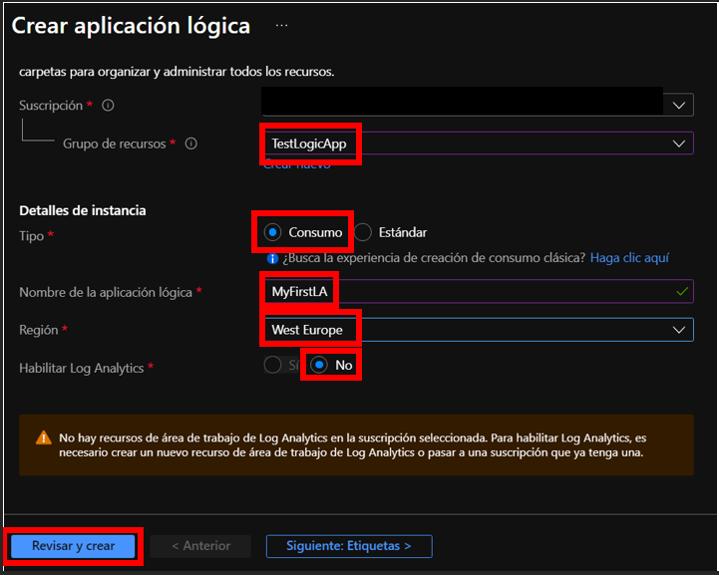 Página de creación del recurso Logic App con valores rellenos