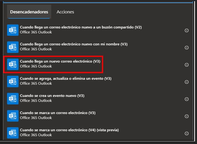 Elección del desencadenador de Outlook 365