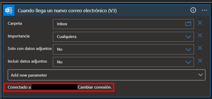 Muestra de la conexión correcta del desencadenador de Outlook 365