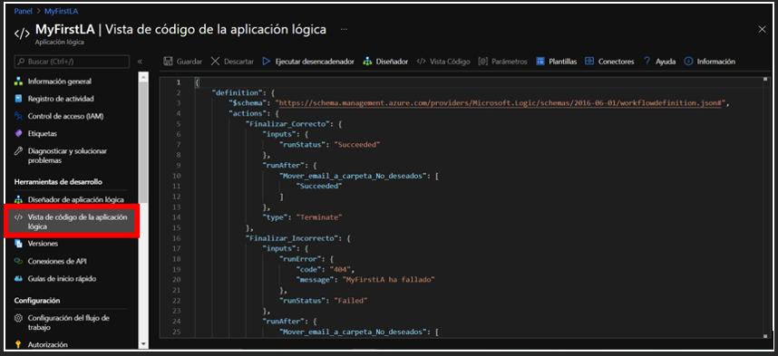 Vista de código de la Logic App