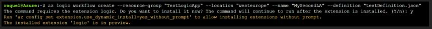 Instalación de la extensión logic en la CLI de Azure