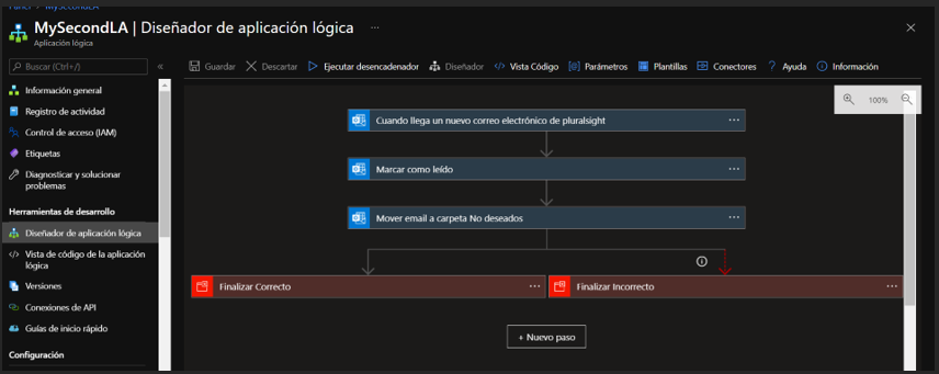 Confirmación de la creación de la nueva Logic App